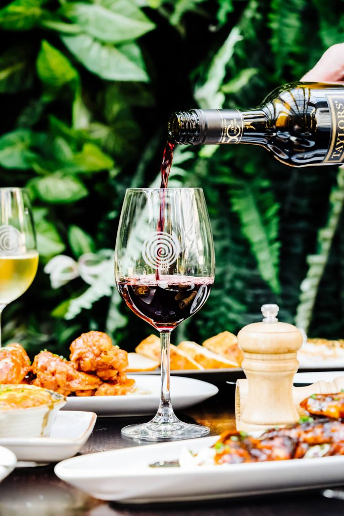Wine served with food